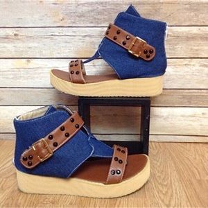 Shoes - Denim and stud back zip thong toe platforms